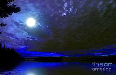 Supermoon Over Lake Art Print