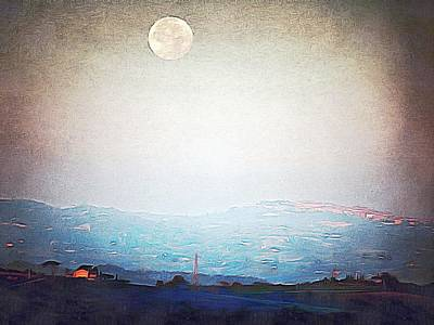 Tuscan Hills Digital Art - Supermoon Over Montepulciano At Sunrise by Dorothy Berry-Lound