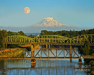 Photograph - Supermoon Over Tacoma Puyallup River by Jack Moskovita