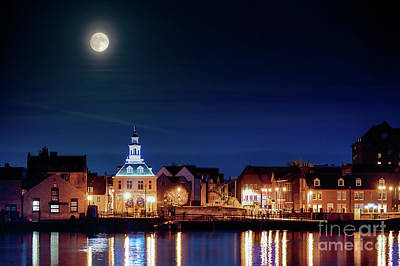 Halls Harbour Photograph - Supermoon Rising Over Norfolk Town Uk by Simon Bratt Photography LRPS