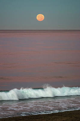 Terry Oneill - Supermoon Setting over the Pacific by Adam Rainoff