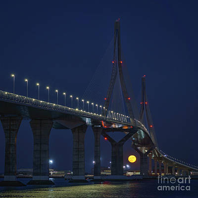 Photograph - Supermoon Under 1812 Constitution Bridge Cadiz Spain by Pablo Avanzini