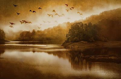 Flock Of Bird Mixed Media - Supernal Creation by KaFra Art