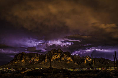 Captured Rain Photograph - Superstition Lightning by Chuck Brown