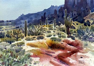 Saguaro Cactus Painting - Superstition Mountain by Donald Maier