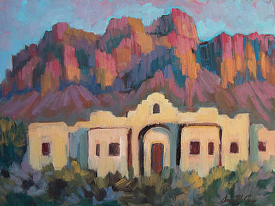 Art Print featuring the painting Superstition Mountain Evening by Diane McClary
