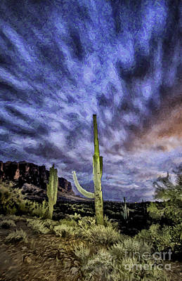 Digital Art - Superstition Mountain Evening Impressions by Georgianne Giese
