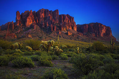 Superstition Mountain Sunset Art Print