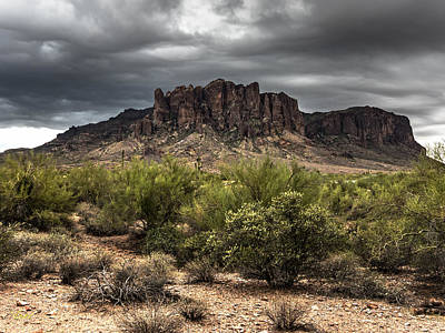 Lenz Wall Art - Photograph - Superstition Mountains - Hdr by George Lenz