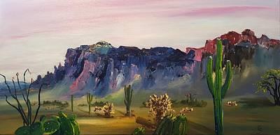 Painting - Superstition Mountains Last Walk       5.2017 by Cheryl Nancy Ann Gordon