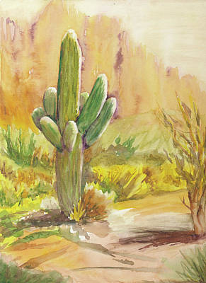 Sonora Painting - Superstition Saguaro by Melanie Harman