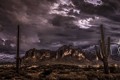 Captured Rain Photograph - Superstition Storm by Chuck Brown