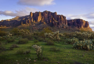 Cholla Photograph - Superstitions Mountains On Green by Dave Dilli