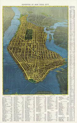 City Scenes Mixed Media - Supervue of New York City - Birds eye view - New York Map - Historical Map - Catrography by Studio Grafiikka