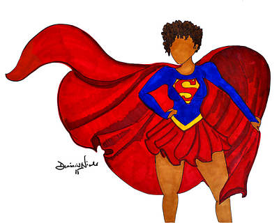 Black Art Drawing - Superwoman I Am  by Diamin Nicole