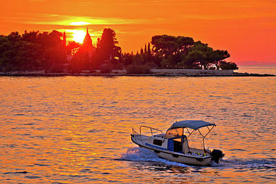 Photograph - Supetar Mausoleum And Small Boat At Sunset View by Brch Photography