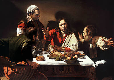 Supper At Emmaus Art Print by Caravaggio