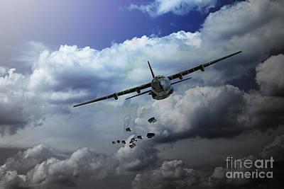 C-130 Wall Art - Digital Art - Supply Drop by J Biggadike
