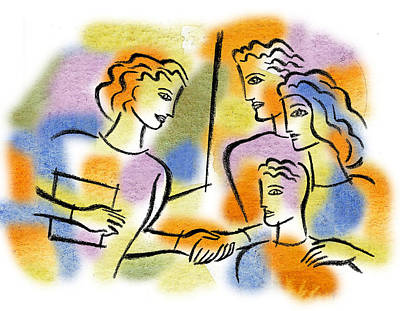Women Together Painting - Support And Family Assistance by Leon Zernitsky