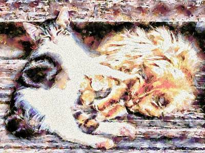 Doze Digital Art - Supposed To Be Looking After Grandma by Dorothy Berry-Lound