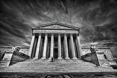 Black Russian Studio Photograph - Supreme Court Building In Black And White by Val Black Russian Tourchin