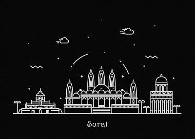Drawing - Surat Skyline Travel Poster by Inspirowl Design