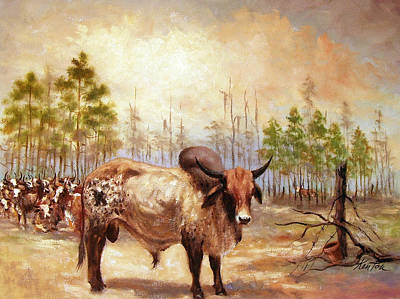 Bucking Bull Painting - Sure I Like My Work, It's The  Best Job On The Ranch by Buster Kenton