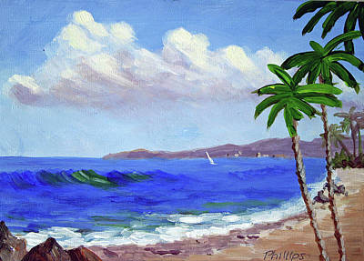 Surf And Palm Trees Original by Bob Phillips