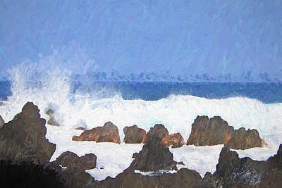 Photograph - Surf And Rocks Painterly by Mary Bedy