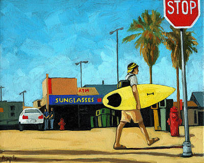 Surf And Turf - Oil Painting Art Print by Linda Apple