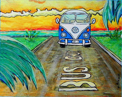 Surfing Art Painting - Surf Art Bus by W Gilroy