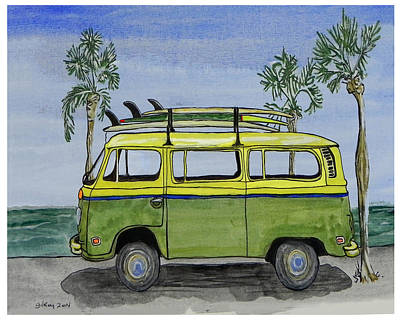 Longboard Painting - Surf Art Vw Bus And Long Boards  by W Gilroy