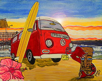 Surfing Art Painting - Surf Art by W Gilroy