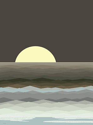 Digital Art - Surf At Moonrise by Val Arie