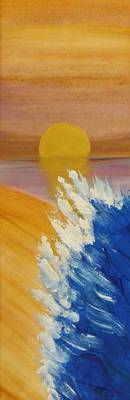 Caribbean Abstract Painting - Surf At Sunset by Sharon Eng