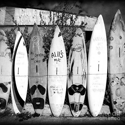 Photograph - Surf Board Fence Maui Hawaii Square Format by Edward Fielding