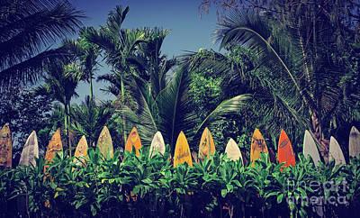 Surf Board Fence Maui Hawaii Vintage Art Print