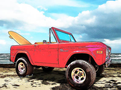 Surf Bronco Beyond The 4 Wheel Drive Only Sign Padre Island Art Print