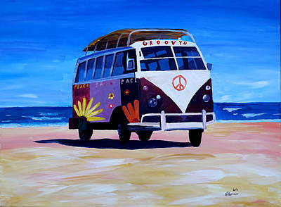 Bulli Painting - Surf Bus Series - The Groovy Peace Vw Bus by M Bleichner