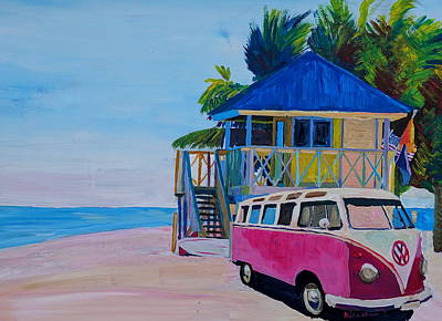 Bulli Painting - Surf Bus Series - Beach House With Red Vw Surf Bus by M Bleichner