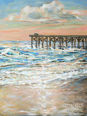 Painting - Surf By Pier by Linda Olsen