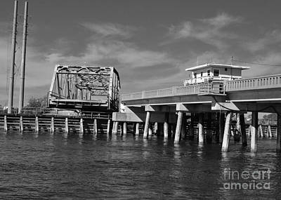 Photograph - Surf City Bridge - Black And White by Bob Sample