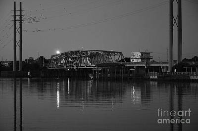 Photograph - Surf City Bridge In Black And White by Bob Sample