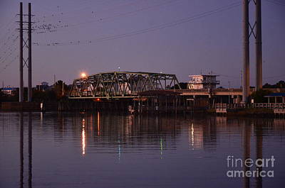 Photograph - Surf City Bridge Night Time Reflections by Bob Sample