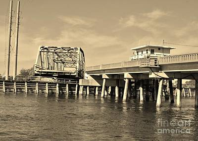 Photograph - Surf City Bridge - Sepia by Bob Sample