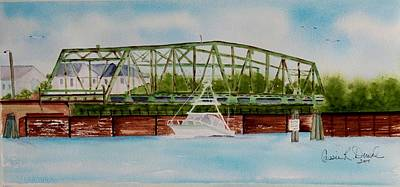 Topsail Island Painting - Surf City, Nc Swing Bridge by Cassie Duval
