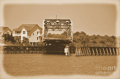Photograph - Surf City Vintage Swing Bridge In Sepia 1 by Bob Sample