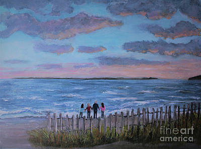 Painting - Surf Drive Beach Sunset With The Family by Rita Brown