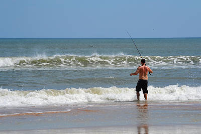 Photograph - Surf Fishing At Ormond By The Sea Beach by rd Erickson
