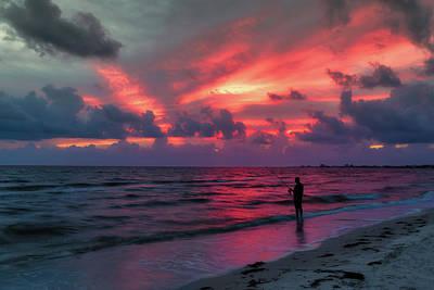 Florida Sunset Wall Art - Photograph - Surf Fishing At Sunset by Tom Mc Nemar